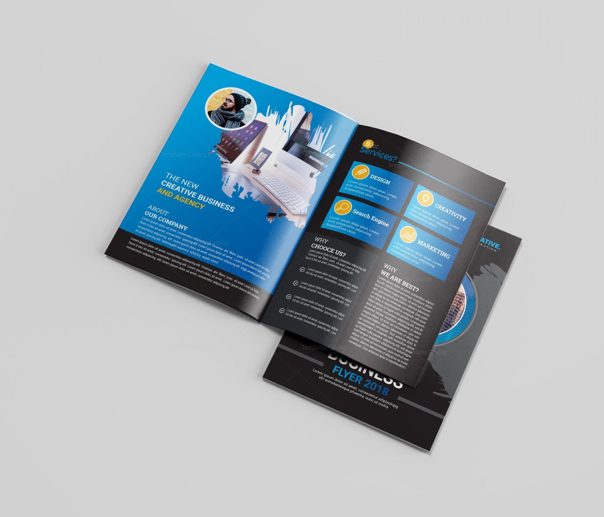 blue bi-fold brochure design 002773