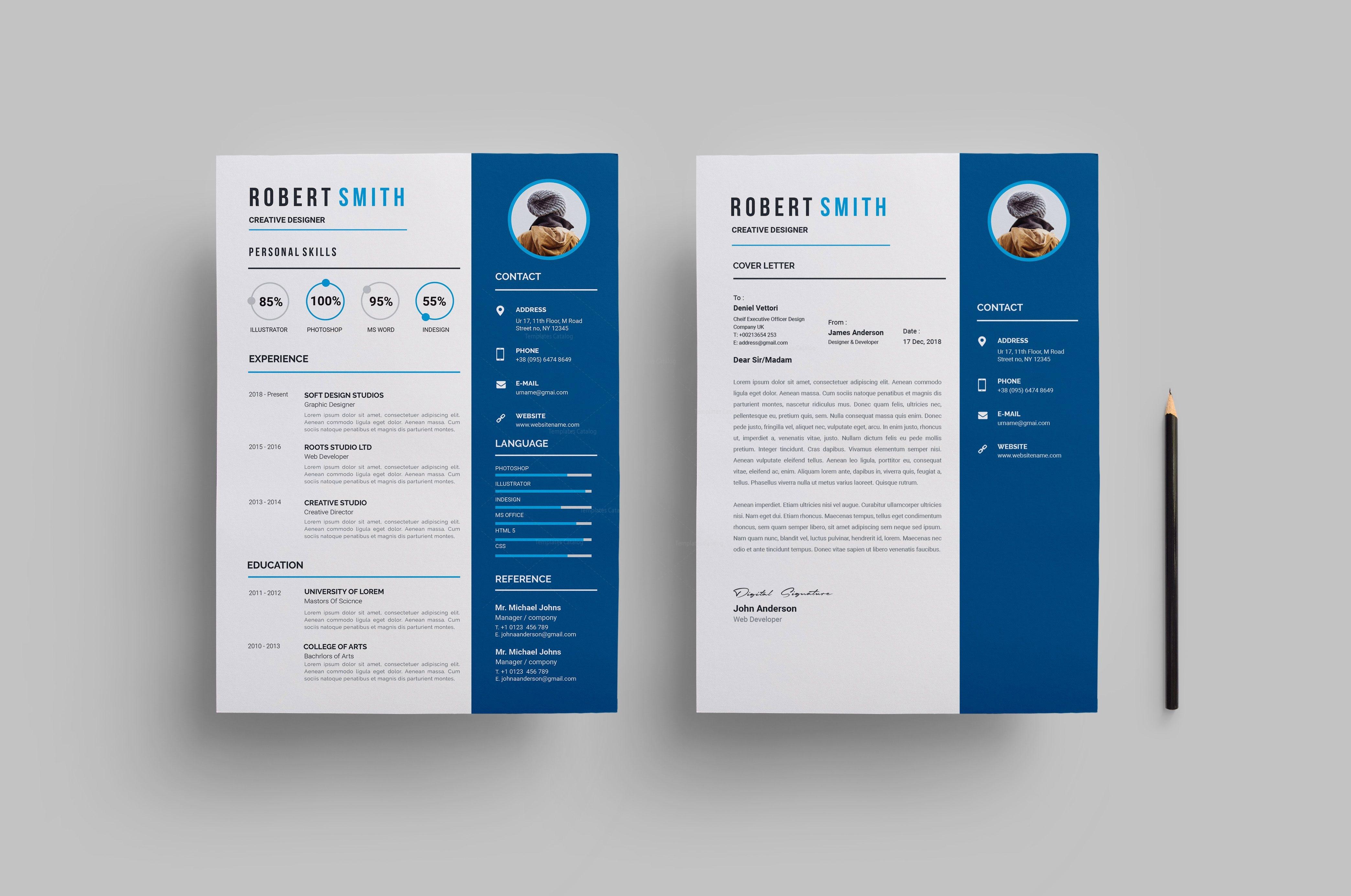 Printable Creative Resume Design 002807 Template Catalog