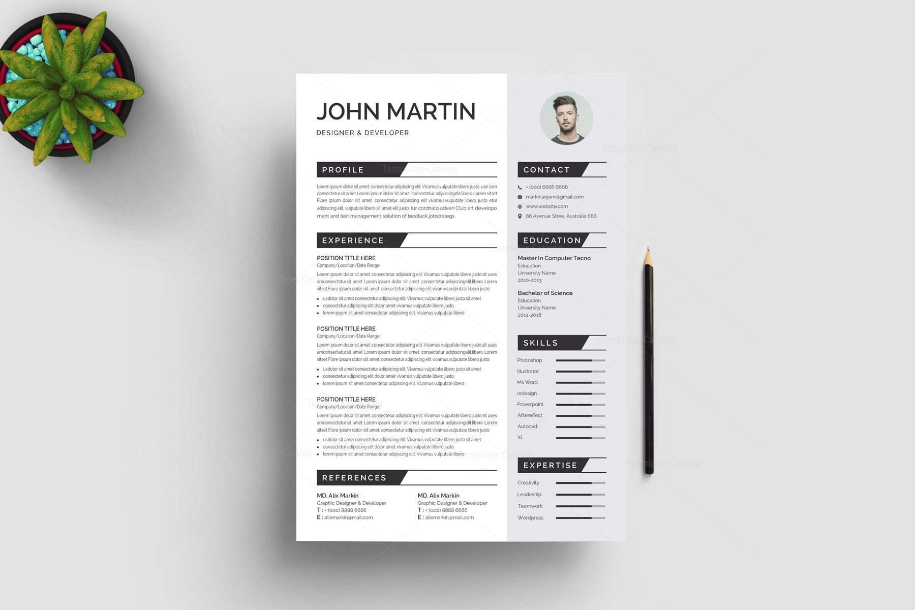 Pro Print Resume Template 002921 - Template Catalog