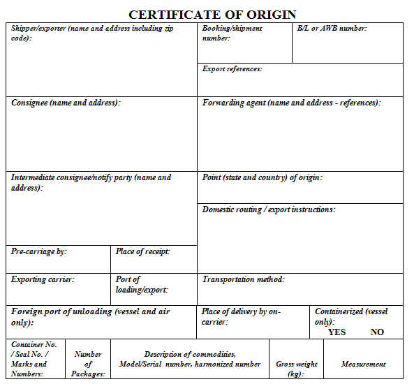 Blank Certificate Of Origin