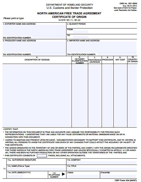 Certificate of Origin Template 761