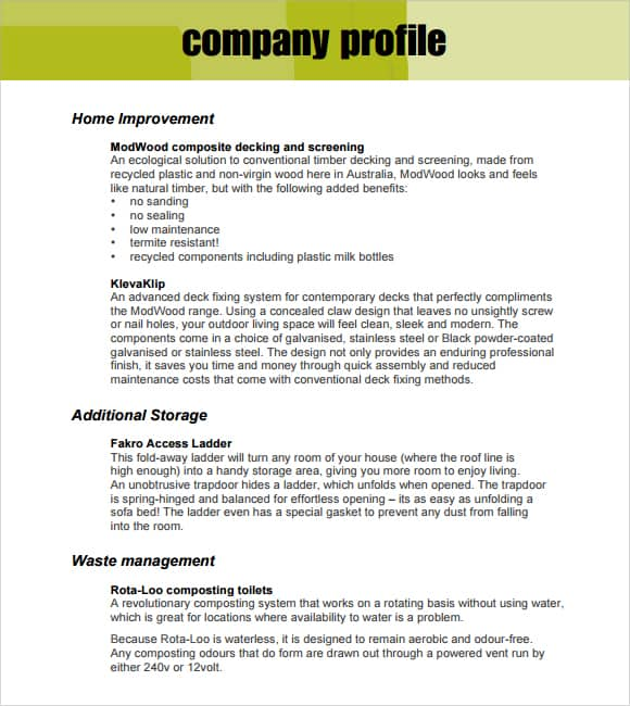company profile format word document
