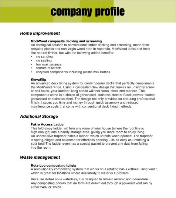 Elegant Company Profile Template Doc On Company Profile Template Doc