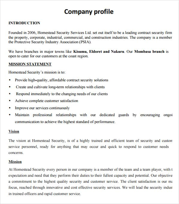 company profile example 32  Free Company Profile Templates in Word Excel PDF