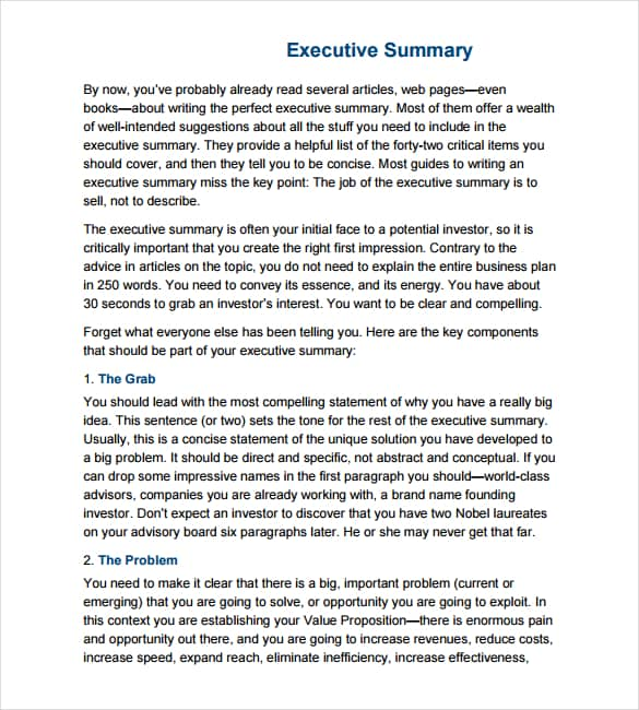 43 Free Executive Summary Templates in Word Excel PDF – Summary Templates