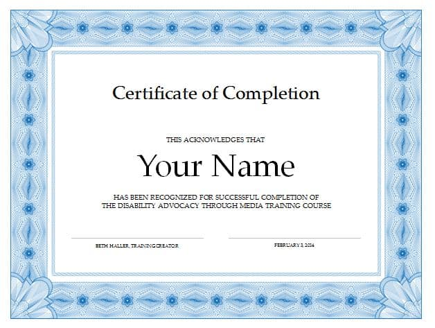 Soft image throughout printable certificate of completion