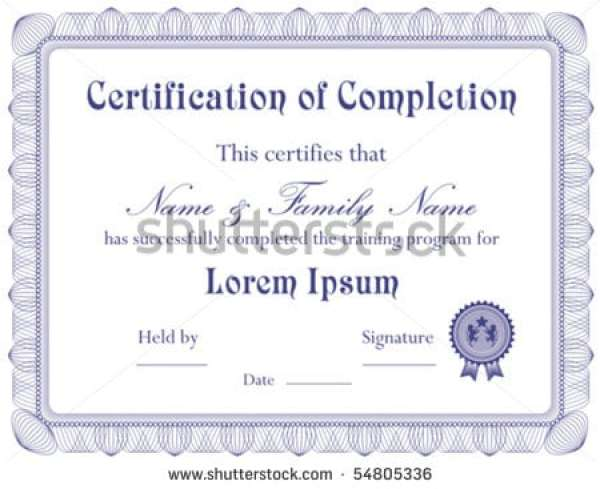 Free Certificate of Completion Template 941