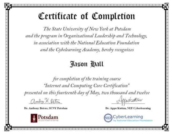 Free Certificate of Completion example 22.461