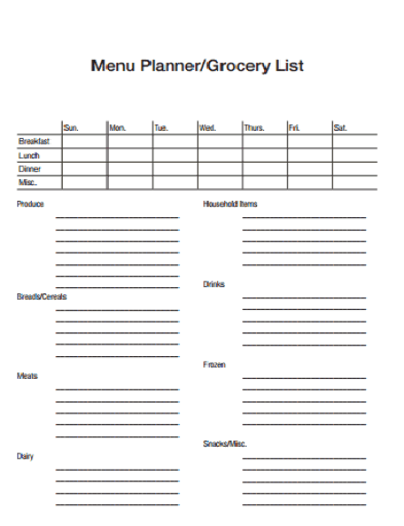 Grocery list sample 14.41