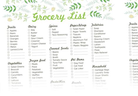 Grocery list sample 3641