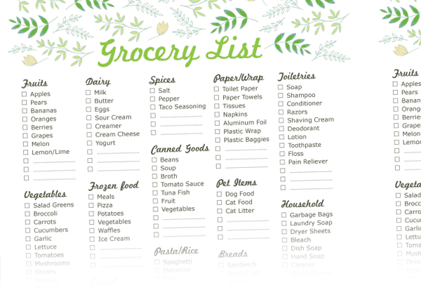 Grocery List Sample 3641  Grocery List Examples
