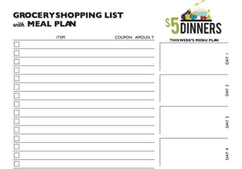 Grocery list sample 4941