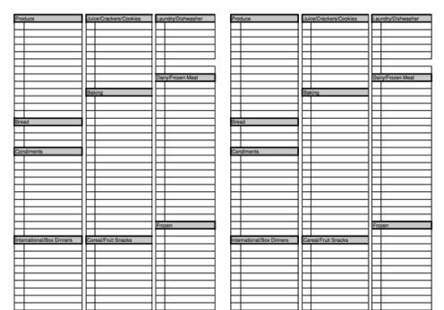 Grocery list sample 5941