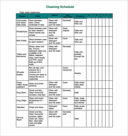 House Cleaning List Template 10.9461