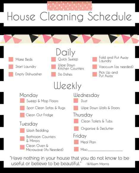 House Cleaning List example 19.941
