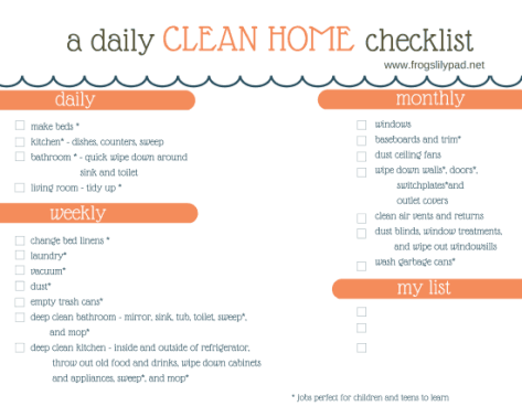 House Cleaning List example 23.41