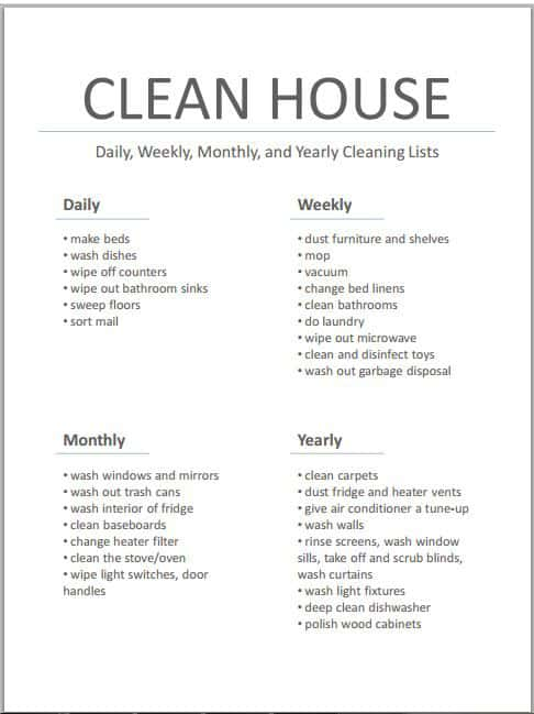 weekly cleaning list template
