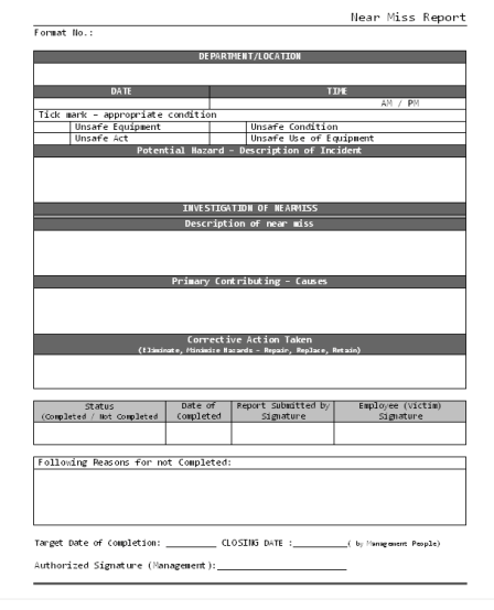 Incident Report sample 15.941