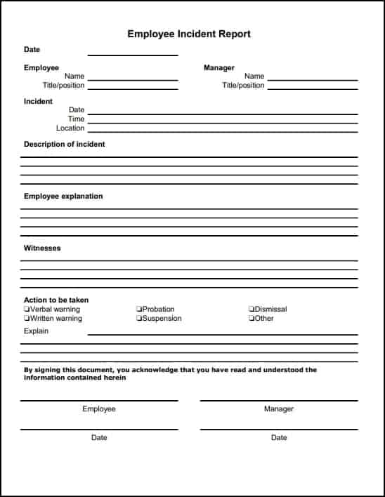 Incident Report Sample 1641  Incident Report Word Template
