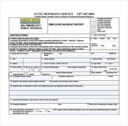 Incident Report sample 7613