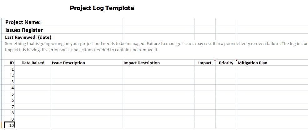 23 free project log templates in word excel pdf. Black Bedroom Furniture Sets. Home Design Ideas