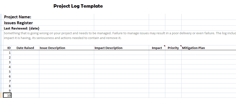 Project Log Template 39494