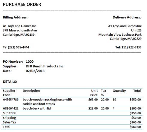 Purchase Order sample 21.6123