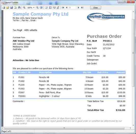 Purchase Order sample 49741