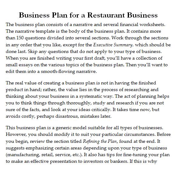 Restaurant Business Plan Template 2941
