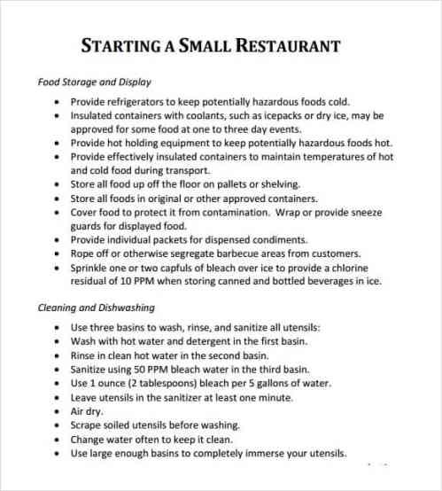 Restaurant Business Plan Template 8941