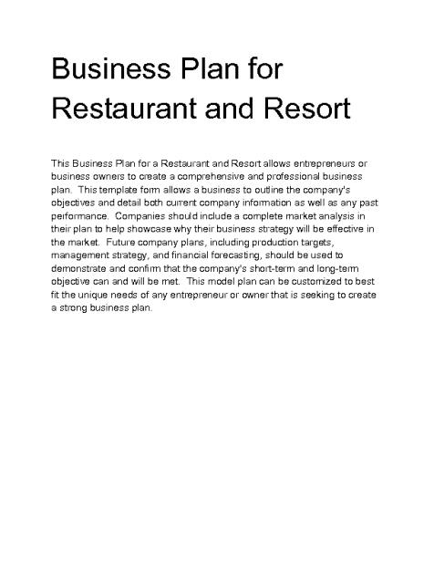 Restaurant Business Plan example 4941
