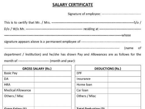 21 free salary certificate template word excel formats salary certificate sampe 141 yadclub Images