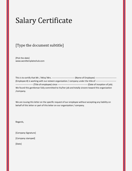 Salary Certificate sampe 39641