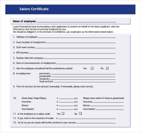 Salary Certificate sampe 541