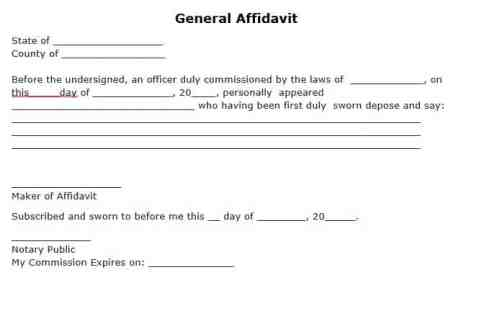 affidavit form example 14.64461