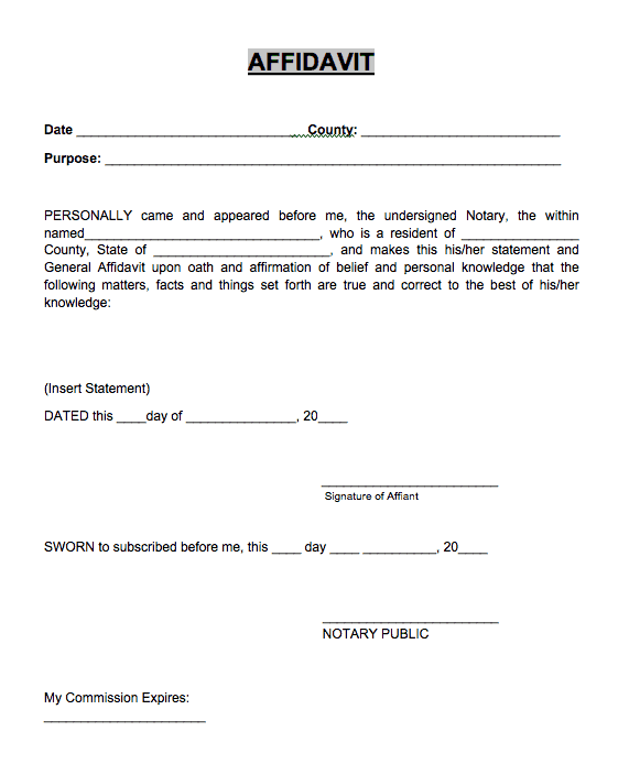 Affidavit Form Example 17.964  General Affidavit Sample