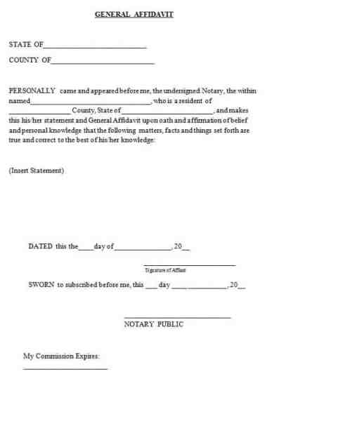 affidavit form example 6974