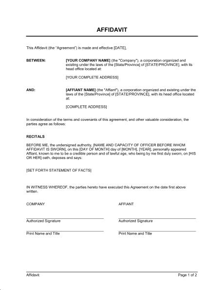 Affidavit Form Template 10.9641  Address Affidavit Form