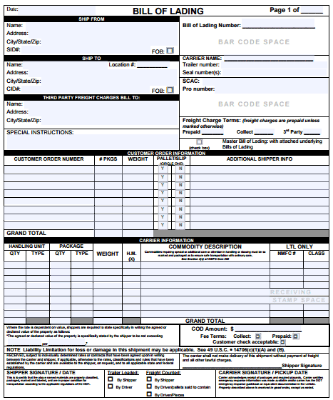 bill of lading template excel - Vaydile.euforic.co