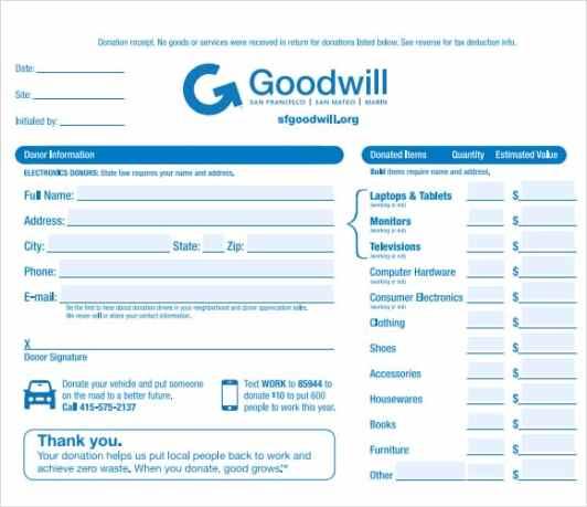 goodwill donation form pdf