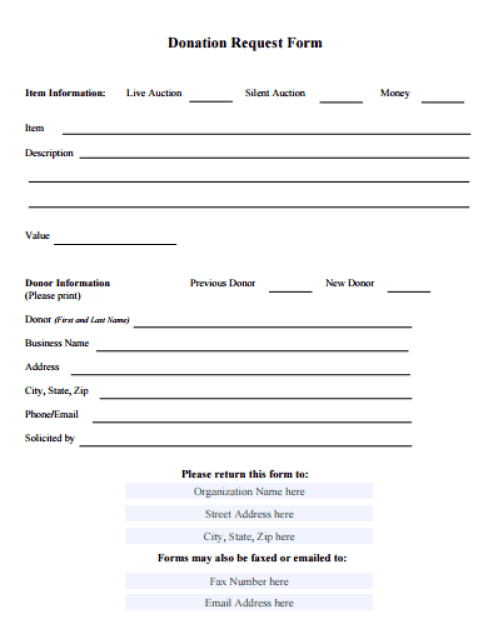 Dashing image within printable donation form template