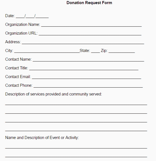 donation form template 674