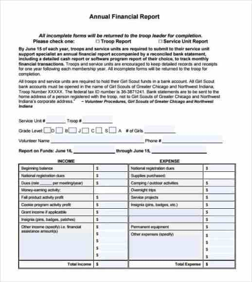 financial report template 2461