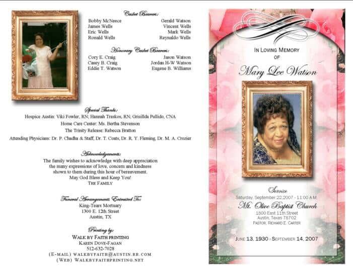 free funeral program