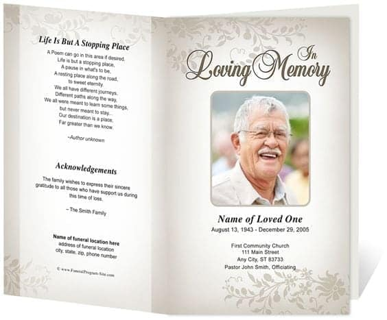 Superb Free Funeral Program Sample 7941 Regarding Funeral Program Word Template