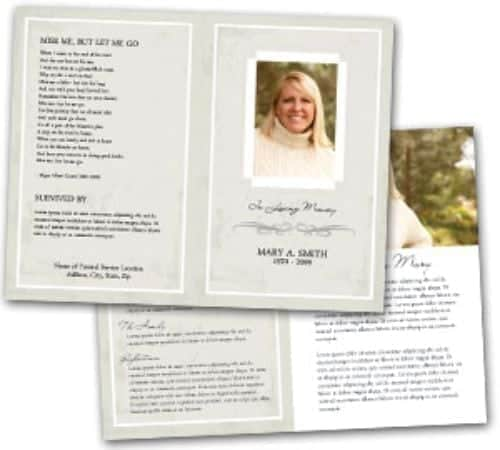 Free Funeral Program Sample 8964  Memorial Pamphlet Template Free