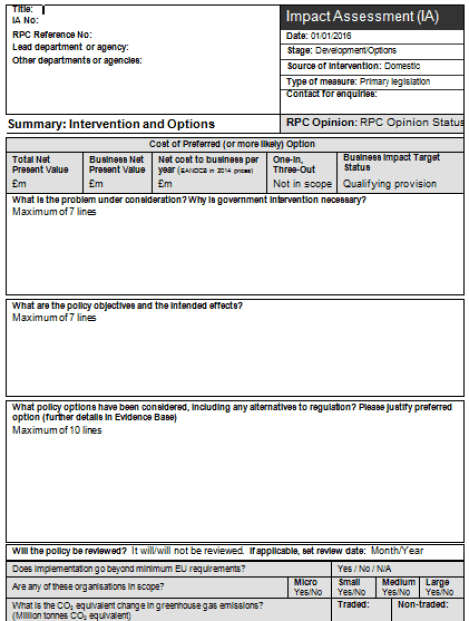 impact assessment template 1641