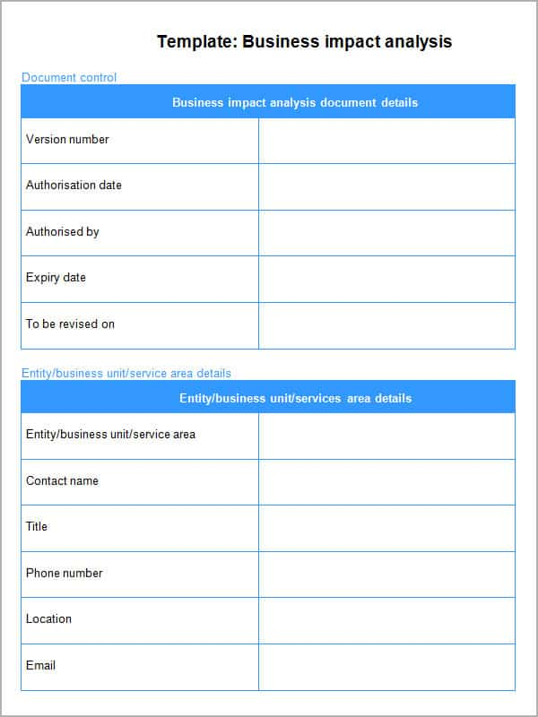 impact assessment template 7461