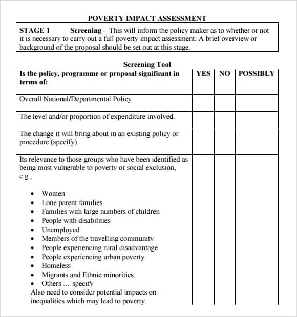 Free Impact Assessment Templates In Word Excel Pdf Formats