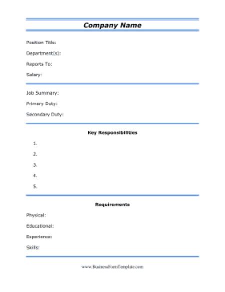 job description sample 1964